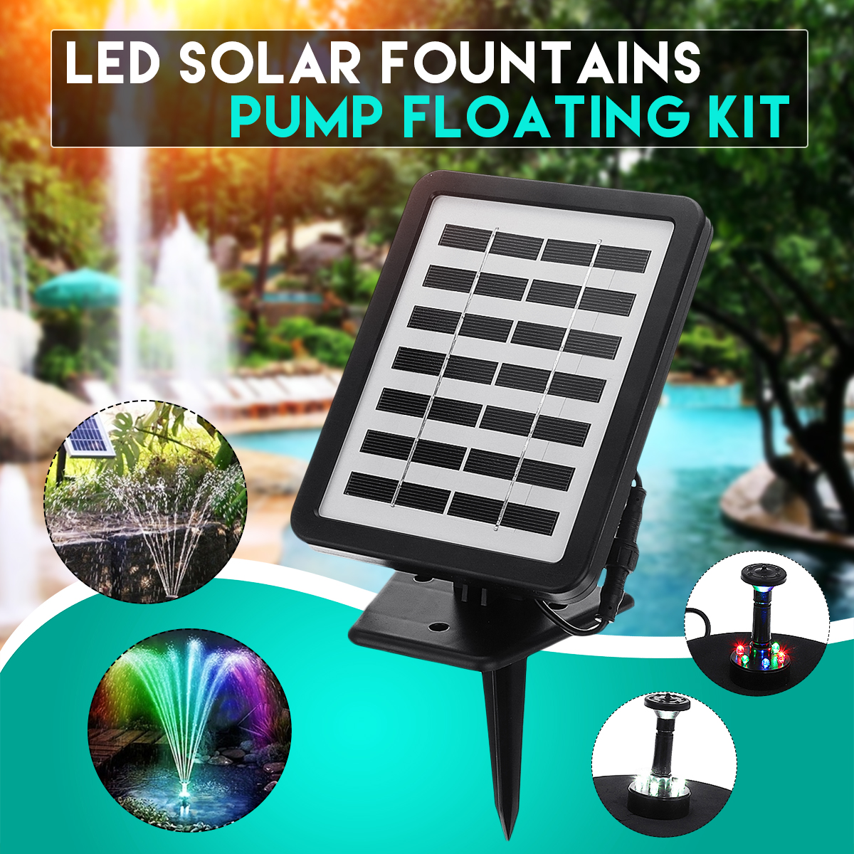 1.5W 180L/H LED Solar Fountains Pump Pond Pool Fish Tank Bird Bath Water Pump built in Battery Floating Kit with 4 Sprinkler Heads