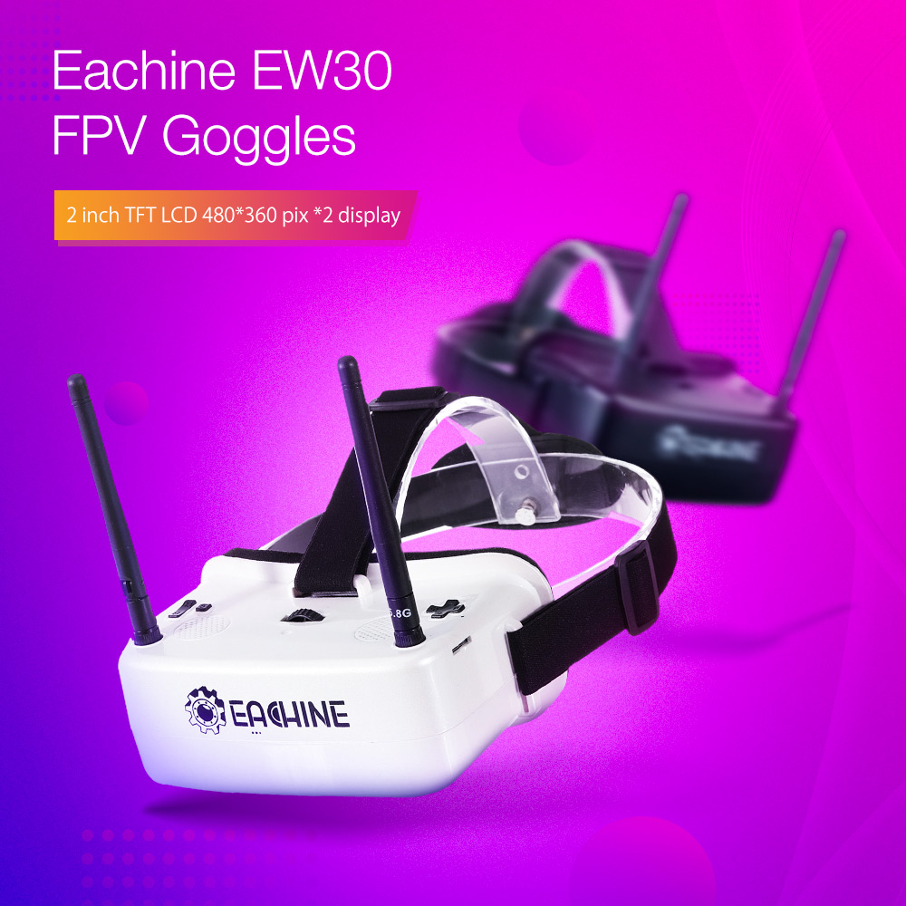 Eachine EW30 2 Inch TFT LCD 480*360 *2 Display 5.8Ghz 48CH 60-68mm IPD Adjustable FOV 120° FPV Goggles with DVR Built-in 3.7V Battery For RC Drone