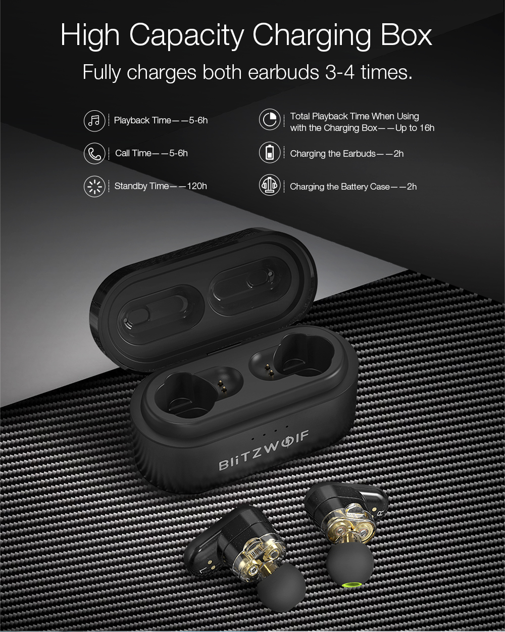 [Dual Dynamic Driver] Blitzwolf® BW-FYE7 TWS bluetooth 5.0 Earphone Heavy Bass Stereo Bilateral Calls Headphone with Charging Box