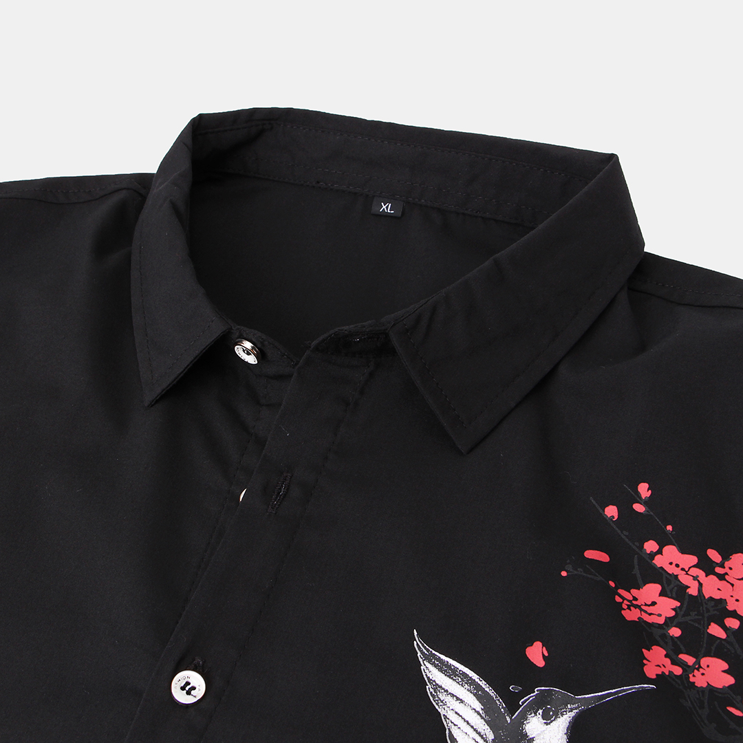 Mens Chinese Style Floral Printed Short Sleeve Casual Shirts