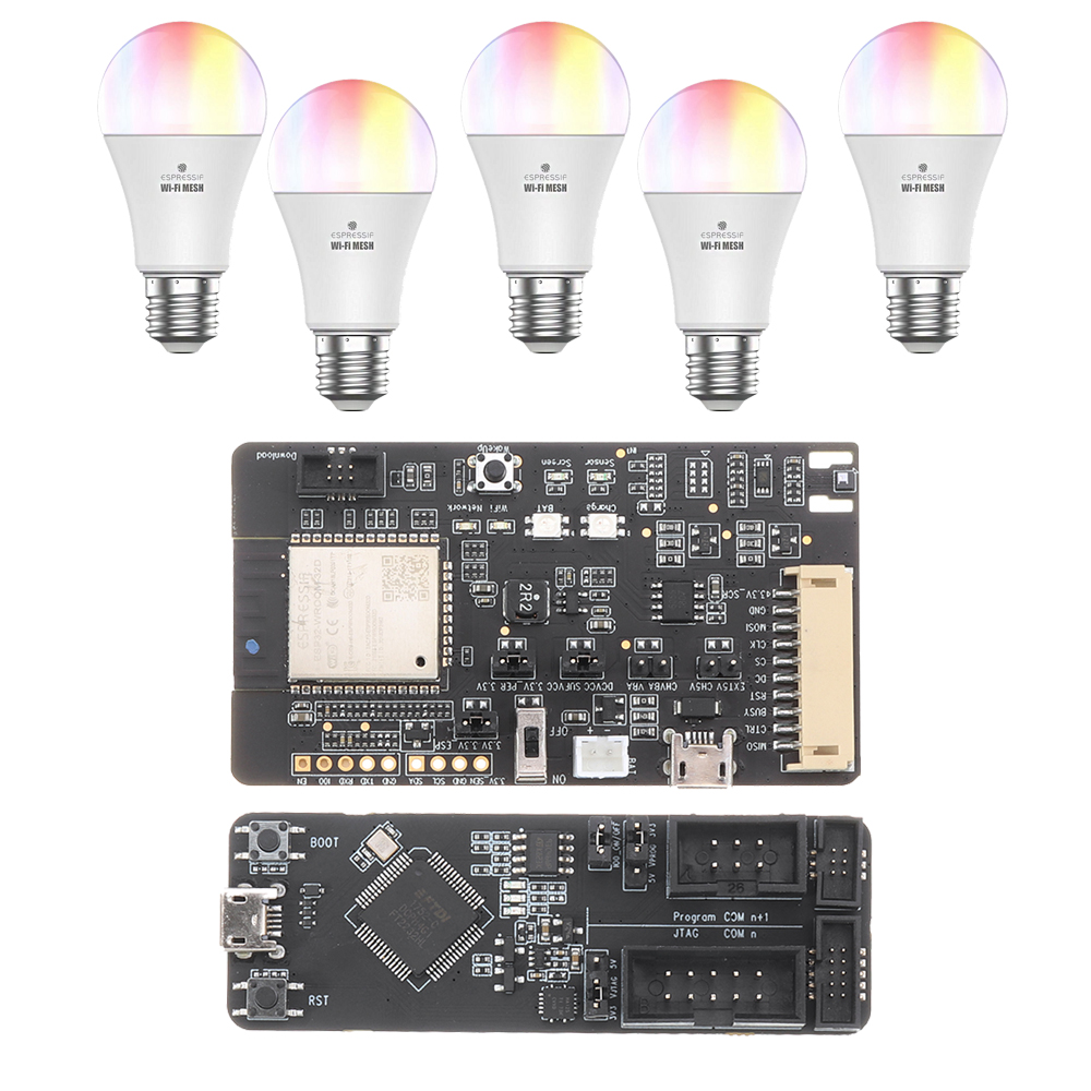 ESP32-MeshKit Suite 5xESP32-MeshKit-Light +1xESP32-Meshkit-Sense +1xESP-Prog Smart Bulb with Delopment Board for Smart Home