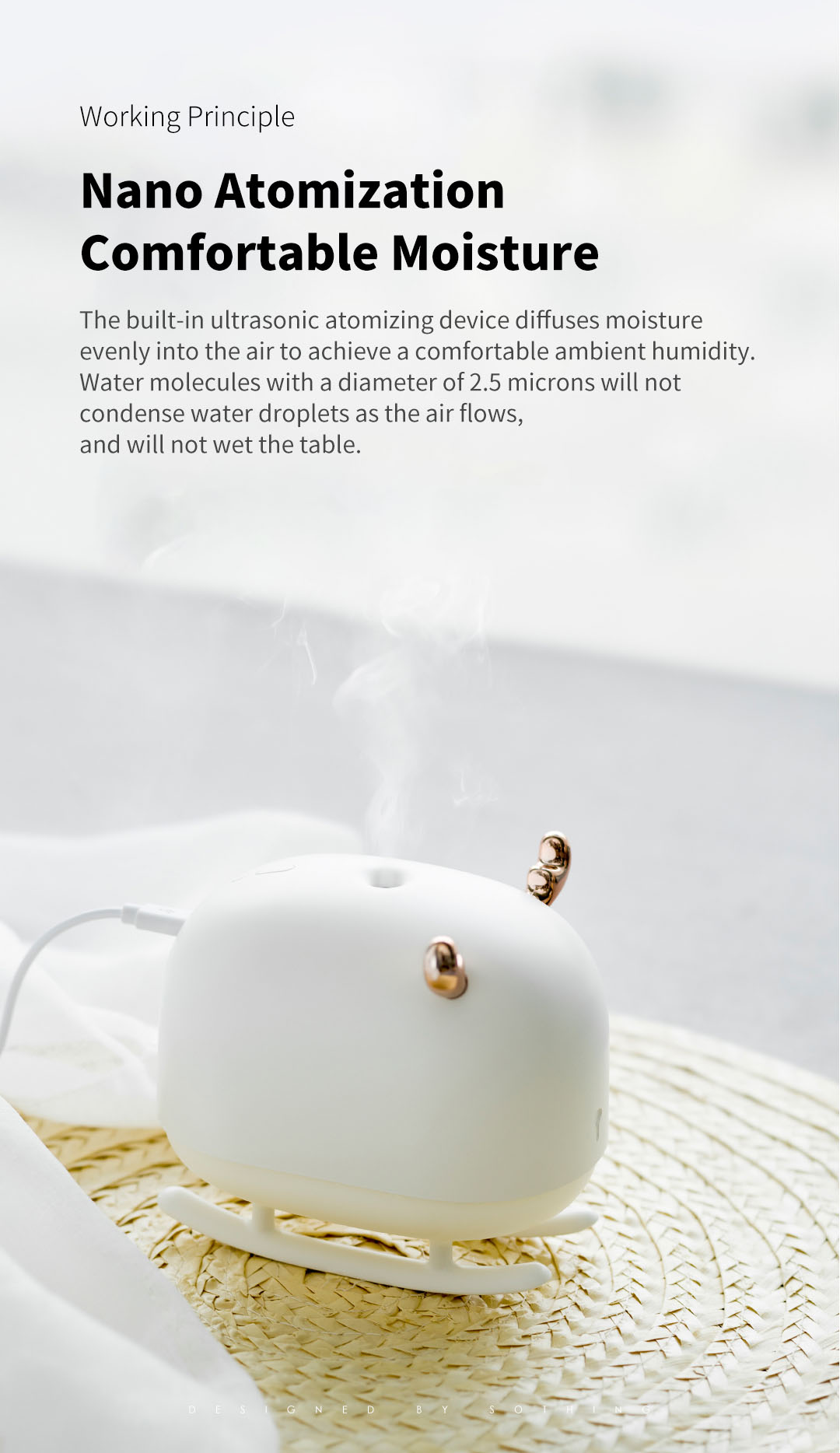 SOTHING DSHJ-H-009 260ML Deer Humidifier Light USB Home Air Humidifier Air Purifier Atmosphere Night Light From Xiaomiyoupin