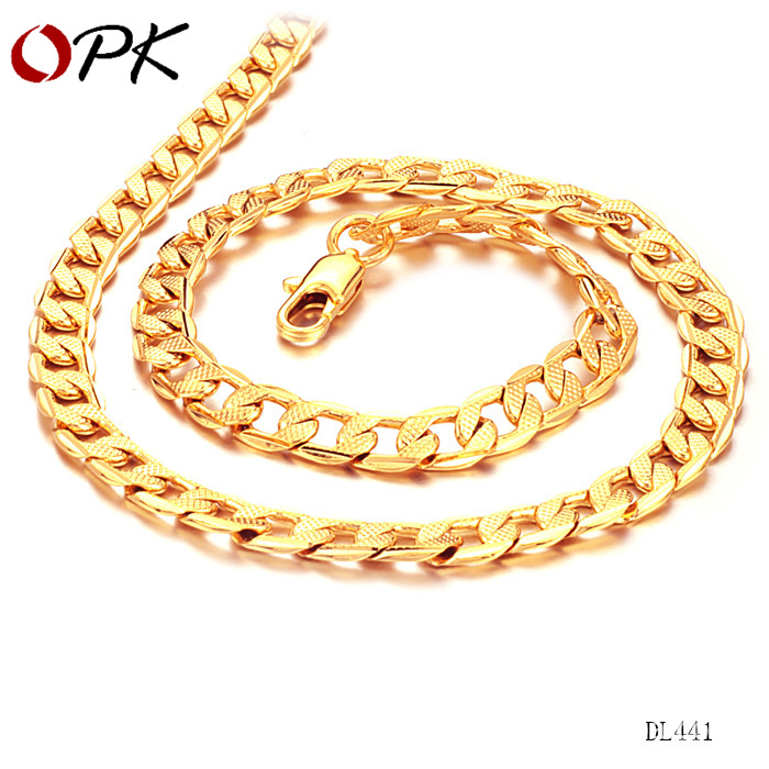 18K Gold Men's Twisted Sheet Plating Thick Single Chain