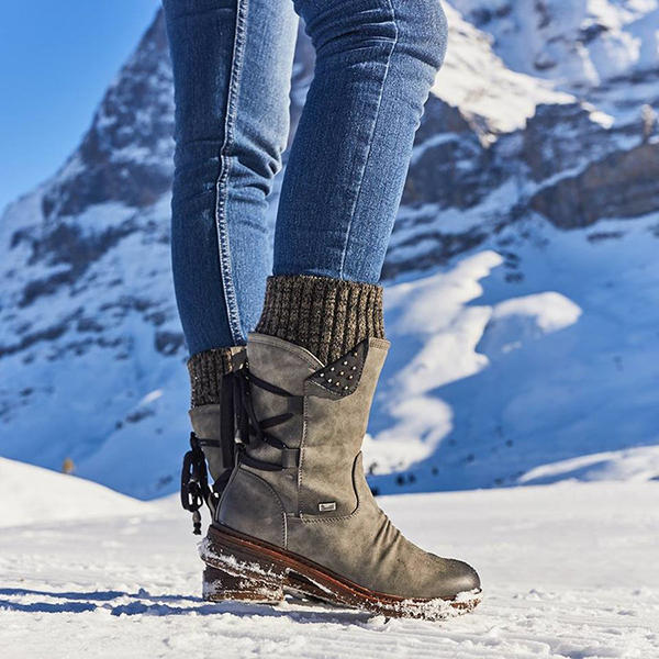 Women Plus Size Comfy Stitching Casual Mid Calf Boots