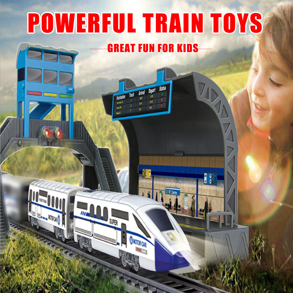 Electric Powerful Assembly Train Track Toys with Light for Kids Gift - Photo: 2