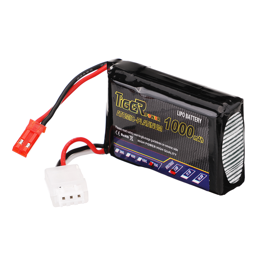 Tiger Power 7.4V 1000mAh 75C 2S Lipo Battery JST Plug for RC Drone - Photo: 6