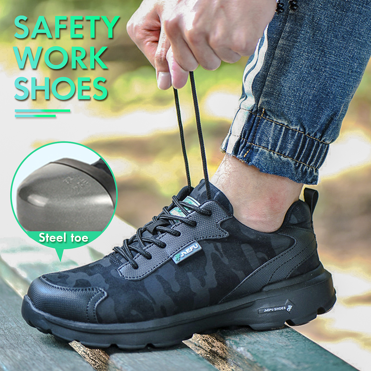 TENGOO Safety Shoes Work Shoes Steel Toe Men's Sports Shoes Breathable Running Shoes