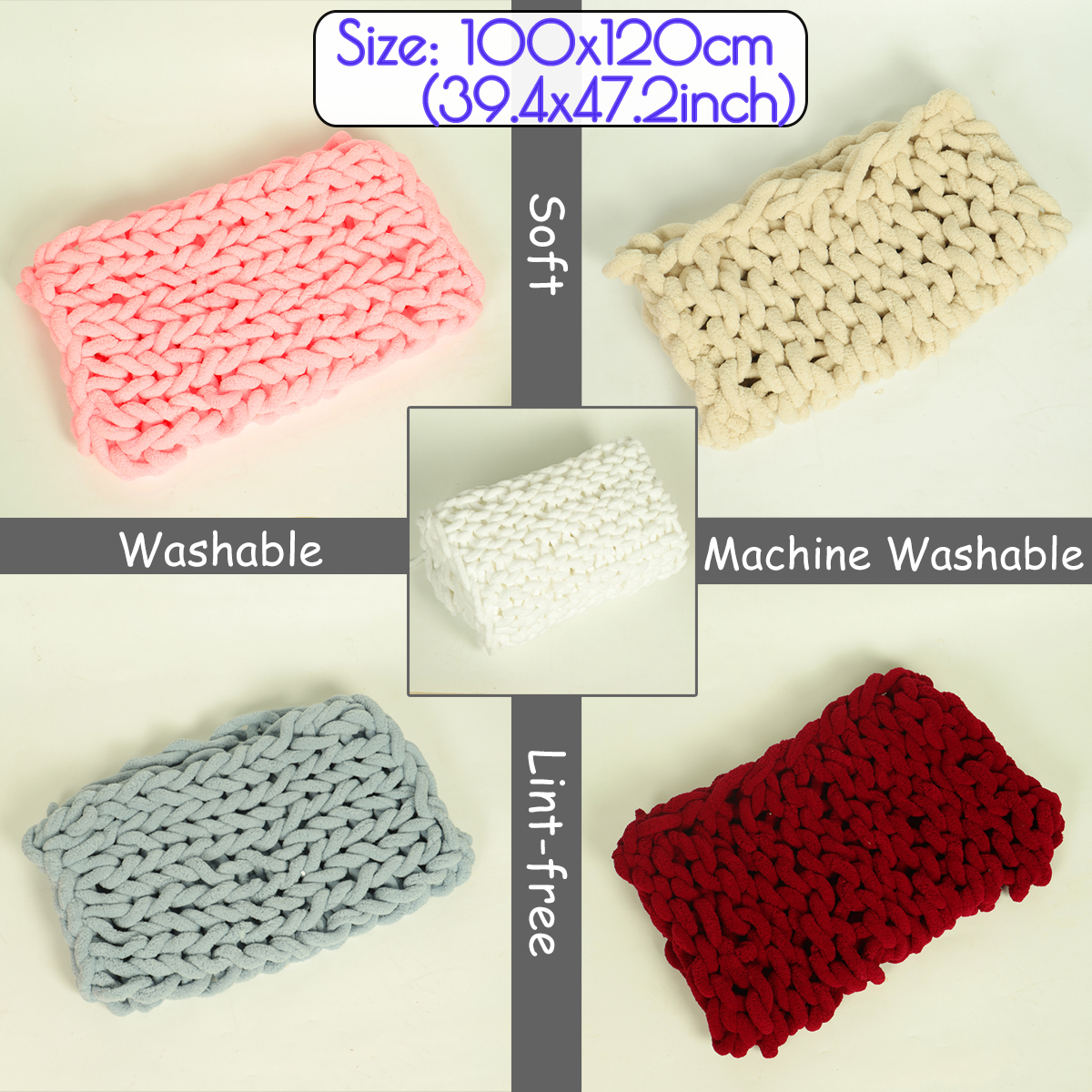 100x120cm Handmade Knitted Blanket Cotton Soft Washable Lint-free Throw Blankets