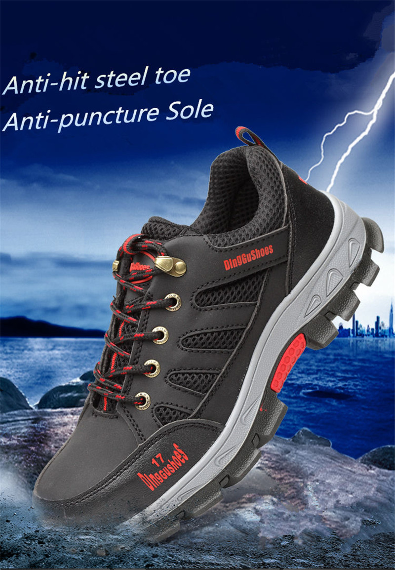 TENGOO Men's Waterproof Steel Toe Work Shoes Safety Shoes Hiking Camping Non-Slip Sneakers Casual Shoes