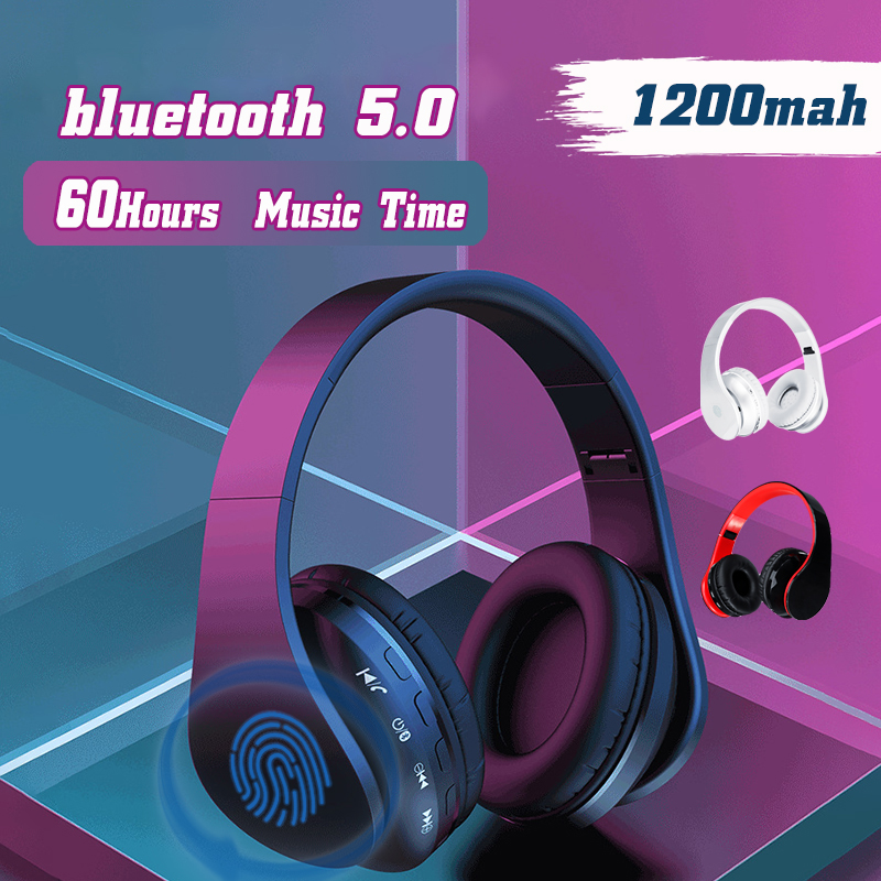 Foldable bluetooth 5.0 Wireless Stereo Headphone Noise Cancelling Handsfree Headset With HD Mic
