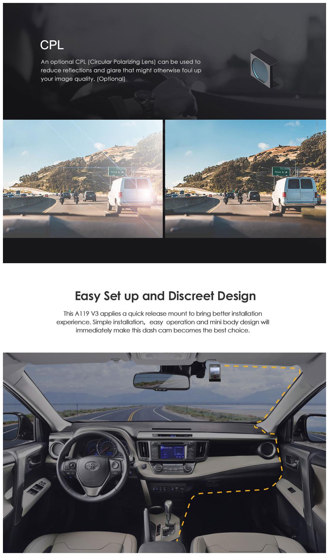 VIOFO A119 V3 2019 Latest Version 2560*1600P Car Dash Cam 140° Wide Viewing Angle DVR Camera with GPS
