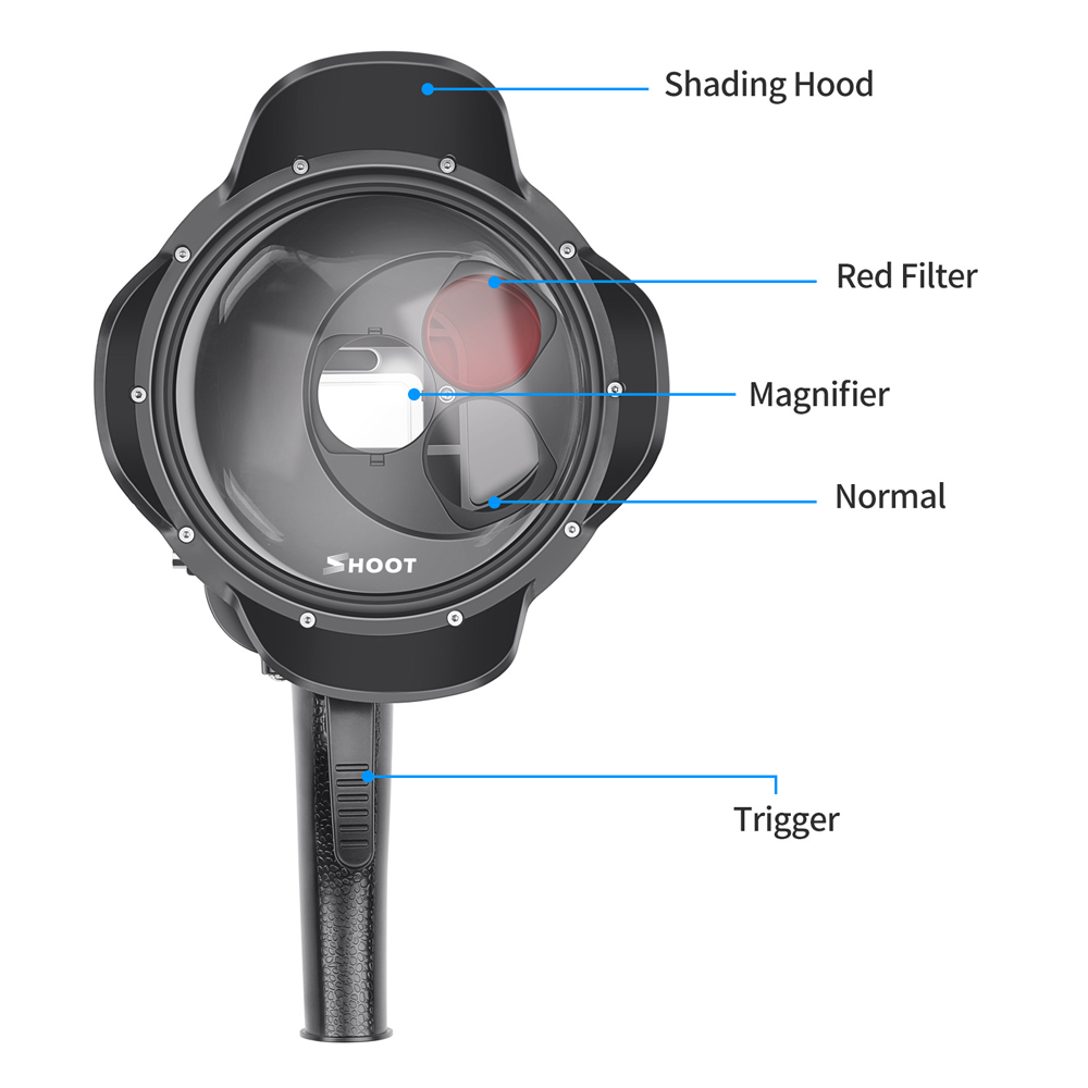 Shoot 40m Diving Dome Action Camera Waterproof Case Dome Port Fish Eyes Lens for Gopro Hero 7 5 6 4 FPV Action Camera - Photo: 3