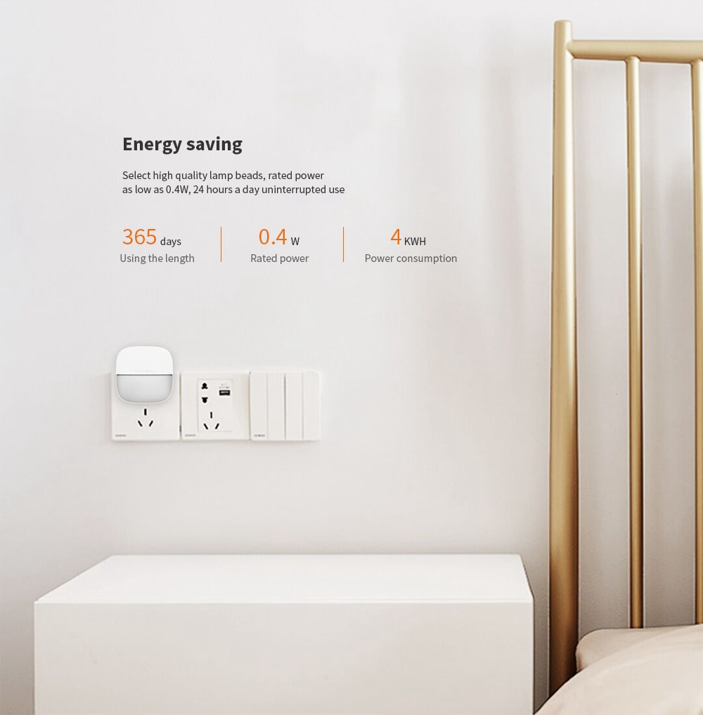 Yeelight YLYD09YL Square Light-controlled Sensor Night Light Ultra-Low Power Consumption AC220V (Xiaomi Ecosystem Product)