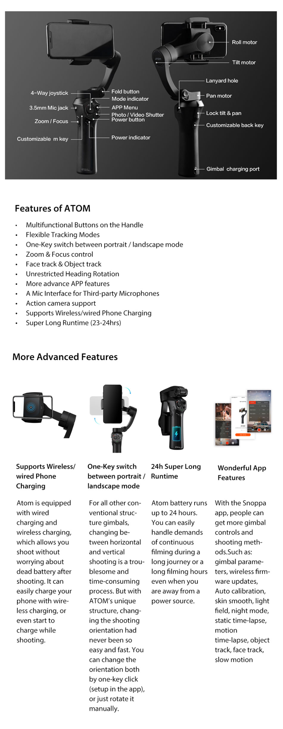 Snoppa Atom 3-Axis Foldable Pocket-Sized Handheld Gimbal Stabilizer for Smartphone