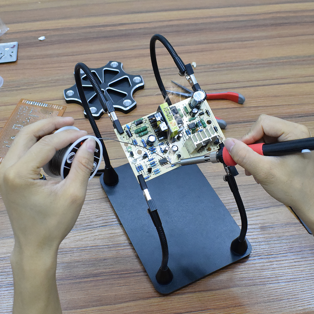 NEWACALOX Multifunctional Magnetic PCB Board Fixed Clip Third Helping Hand with Soldering Station Frame for Repair Welding BGA PCB Chips