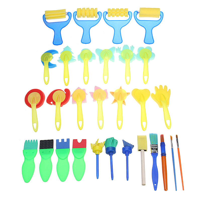 30 PCS Children's Painting Tools Sponge Brush Seal EVA Creative Graffiti Early Education DIY Art Supplies Toys