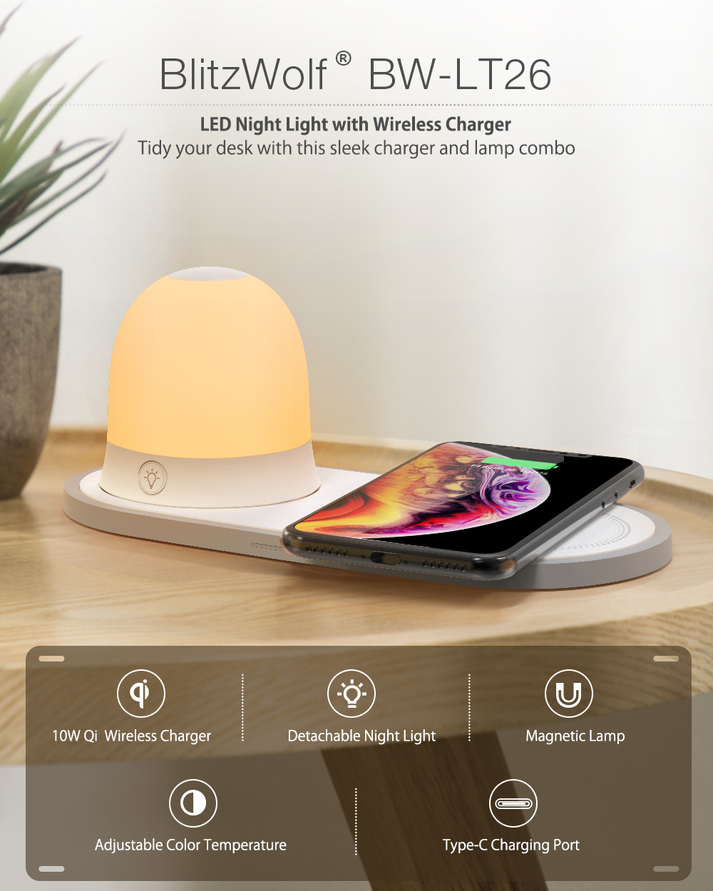 [QI Charge] BlitzWolf® BW-LT26 LED Night Light with 10W Qi Wireless Charger Type-C Charging Magnetic Detachable Lamp