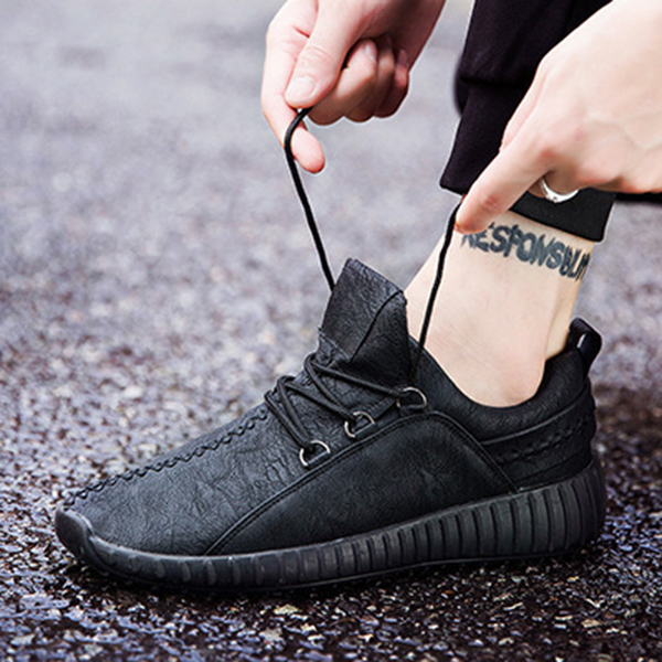 Men Microfiber Leather Stitching Soft Lace Up Running Sneakers Waterproof Non-Slip Fashion Shoes