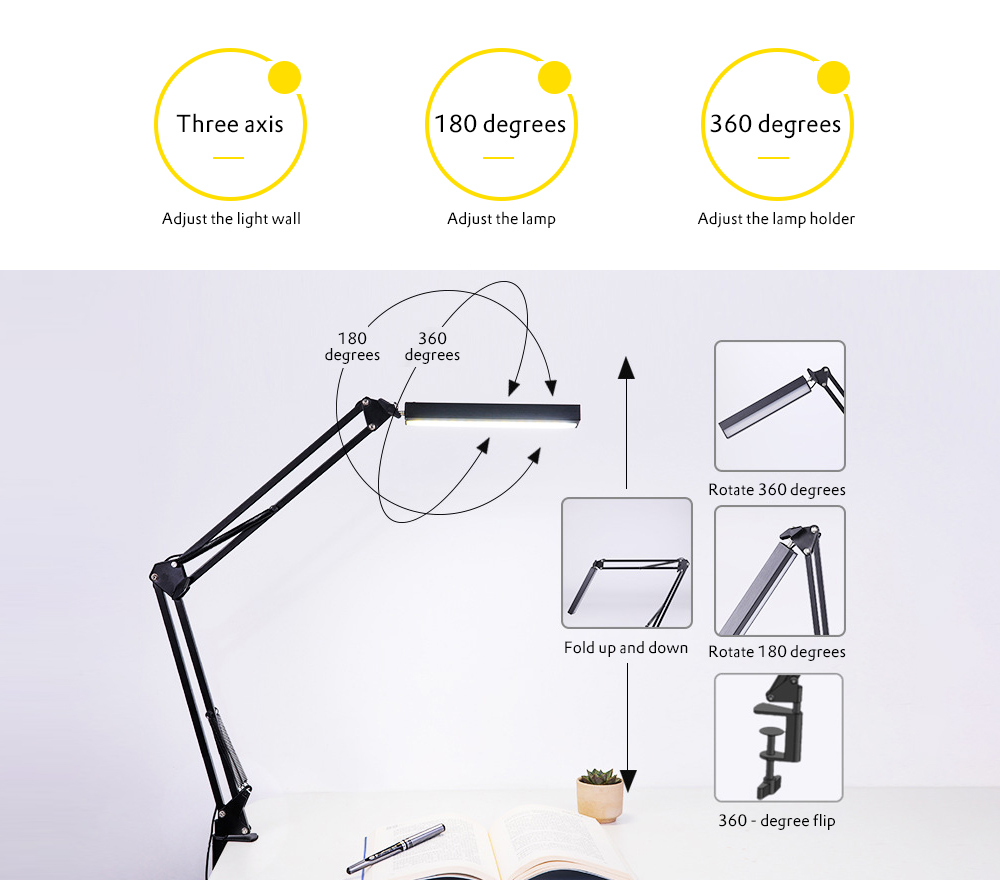 LED Desk Lamp Long Swing Arm Folding Rotation Reading Light Touch Switch LED Clamp Table Lamps Work Lighting Lamp For Laptop Desk