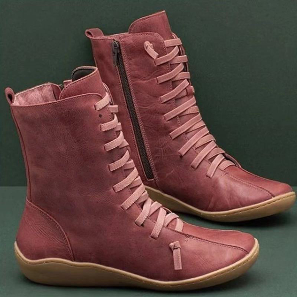 Old Fashion Pure Color Leather Mid-Calf Boots