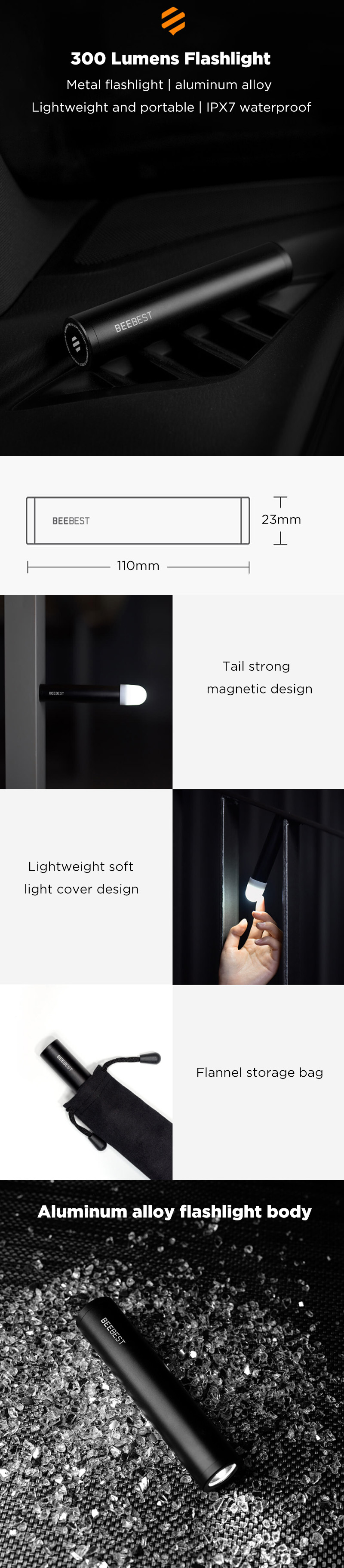 BEEBEST F300 Rechargeable Flashlight Power Bank From XIAOMI Youpin