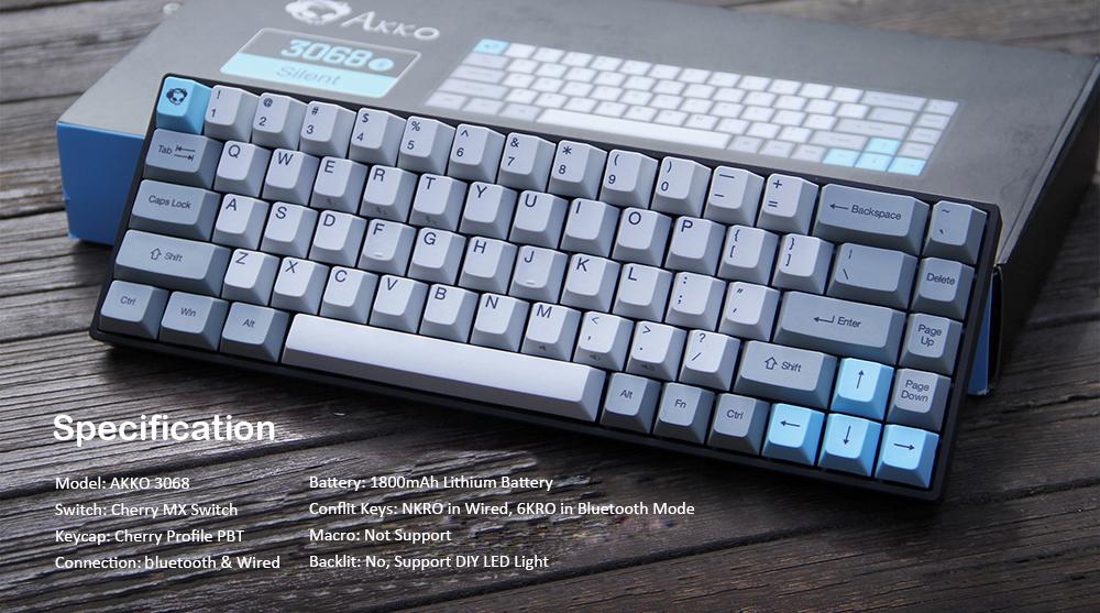 AKKO 3068 - Silent bluetooth Wired Dual Mode PBT Keycap Cherry MX Switch Mechanical Keyboard
