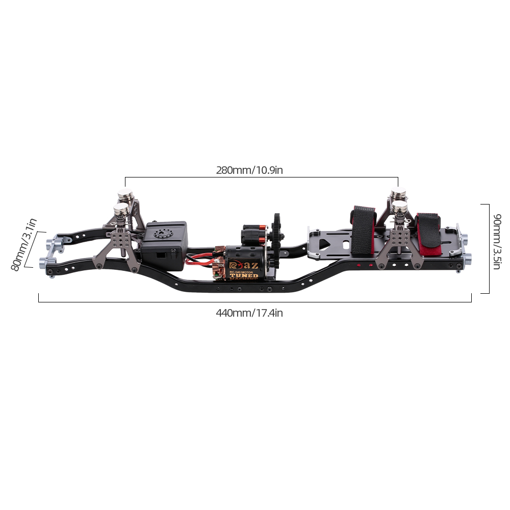 Metal RC Car Frame With Gear Box 55T Motor For Axial Scx RC Car Vehicle Models Parts - Photo: 10