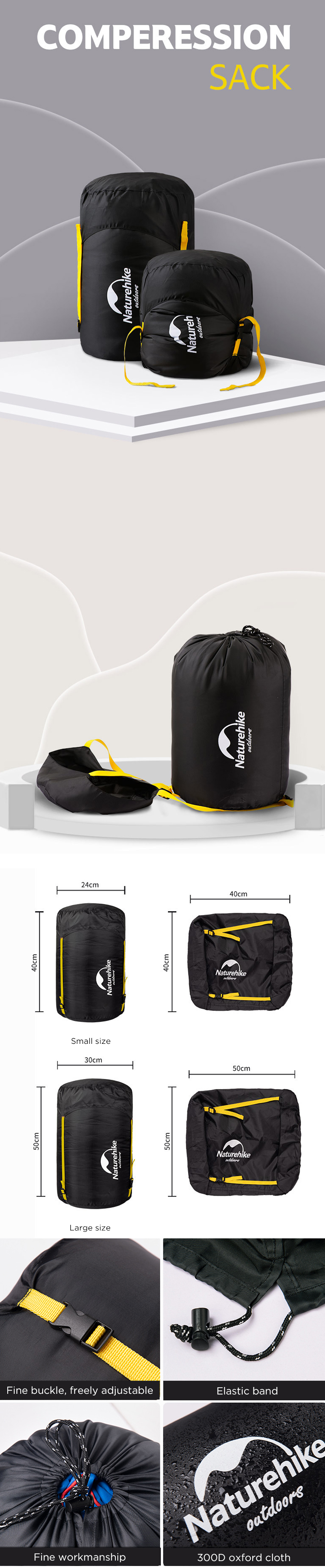 Naturehike NH19PJ020 Sleeping Bag Compression Sack Travel Storage Pouch Outdoor Camping