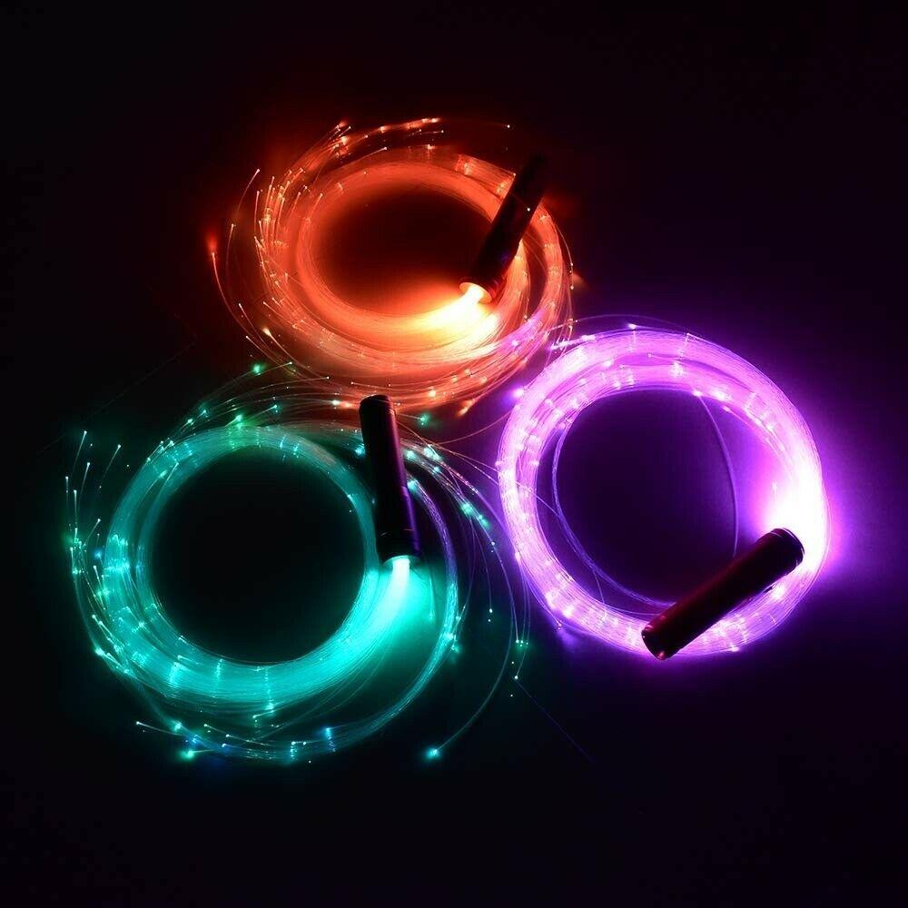 LED Fiber Optic Whip Strip Light 360° RGB Multi-Mode Flashlight Show Music Dance Festival Battery Operated