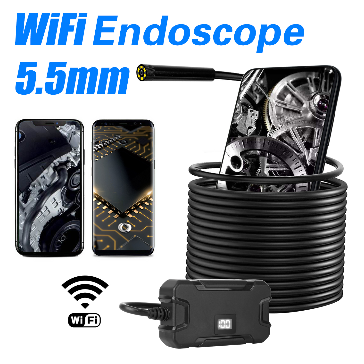 Bakeey 5.5MM WiFi Borescopes Inspection Camera 1080P 6 LED Display Screen HD Semi-rigid Wireless Camera for Android & IOS Ipad Huawei