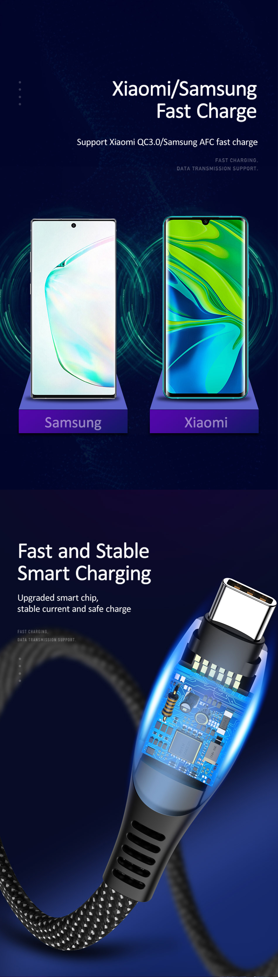 USAMS U36 5A LED Display Real-Time Current Nylon Braided USB Type C Cable Fast Charge 1.2M Data Cable for Samsung Galaxy Xiaomi Huawei Mobile Phone