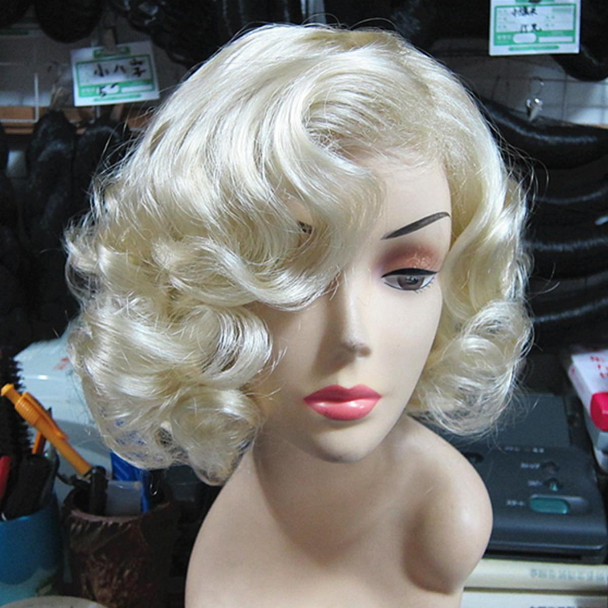Женщины короткие светлые блондинки волнистые вьющиеся Волосы косплей вечеринка Парик