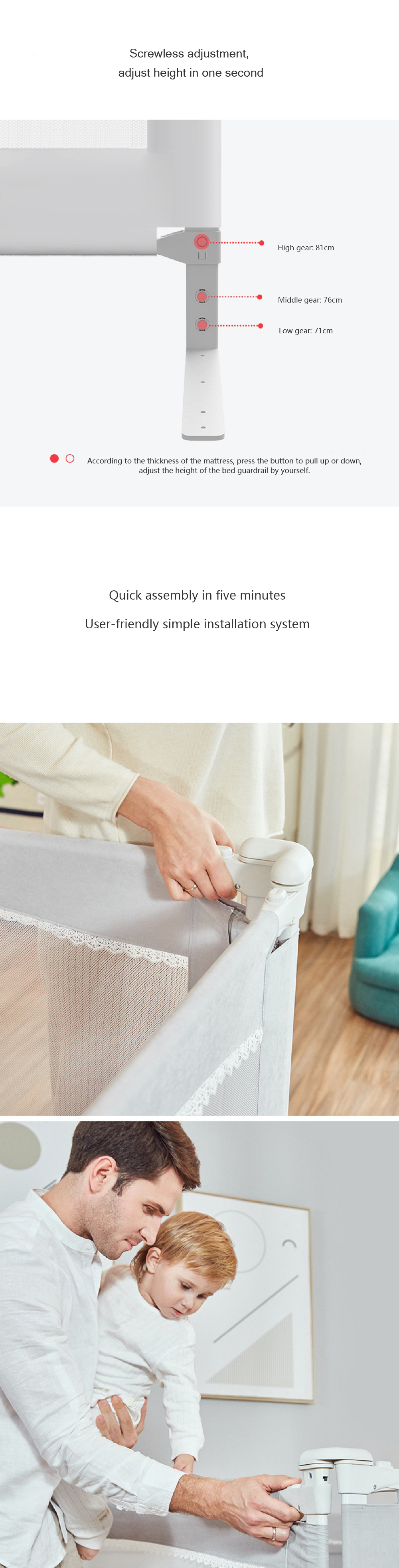 BBZ Bed Guardrail baby Anti-falling Bed Fence From Xiaomi Eco-system Lifting Fence Children Shatter-Resistant Fence