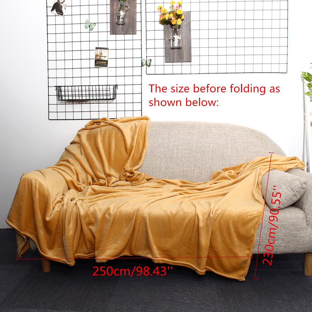 250×230cm Warm Blankets Double Sided Soft Rug Plush Fleece Sofa Bedding Throw