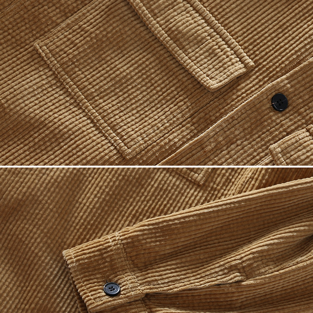 Men Corduroy Dual Chest Pockets Cargo Jacket