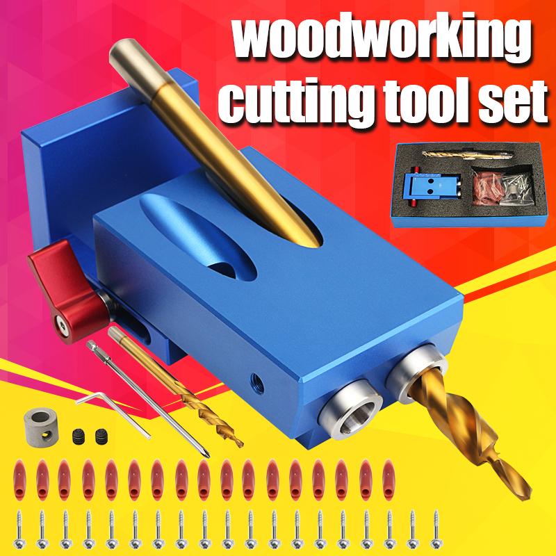Mini Kreg Style Pocket Slant Hole Jig System Kit with Step Drill Bit Woodwork Tool Set