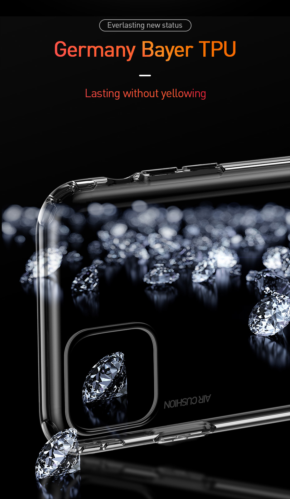 Baseus AirBag Shockproof Crystal Clear Transparent Soft TPU Protective Case for iPhone 11 Pro 5.8 inch