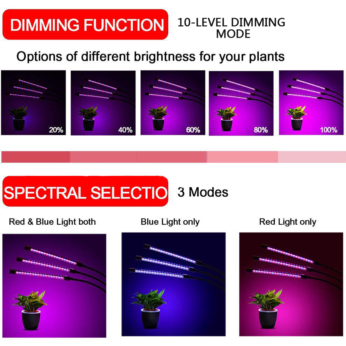 60 LED 3 Head 10-level Dimming Mode Plant Grow Lamp