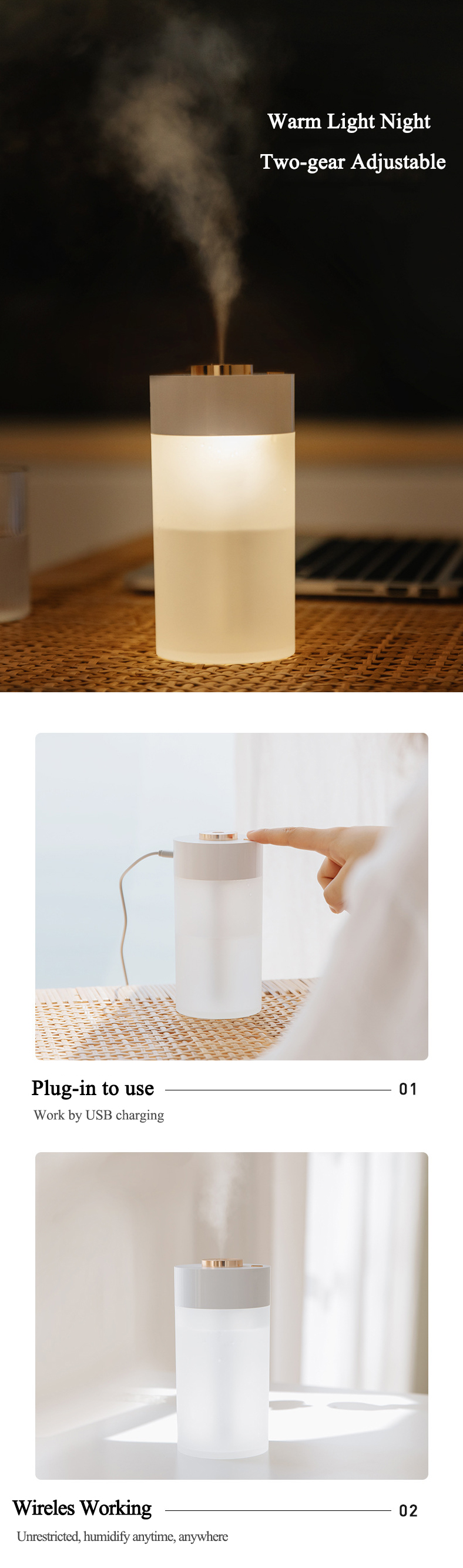Zaiwan BP3S 350ml Air Humidifier USB Humidifier Essential Oil Diffusers Aromatherapy Diffuser