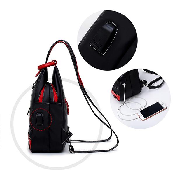 Women USB Charging Leaves Waterproof Chest Bag
