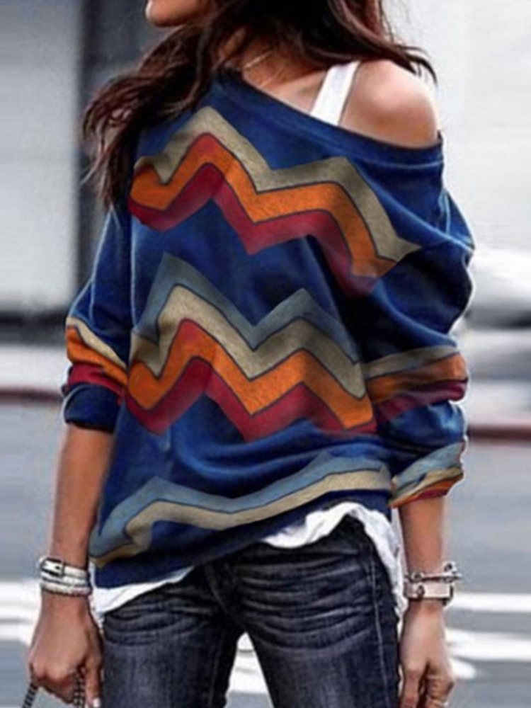 Striped Patchwork One-shoulder Long Sleeve T-shirts