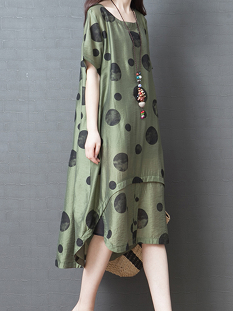 Polka Dot Print Irregular Loose Summer Dress