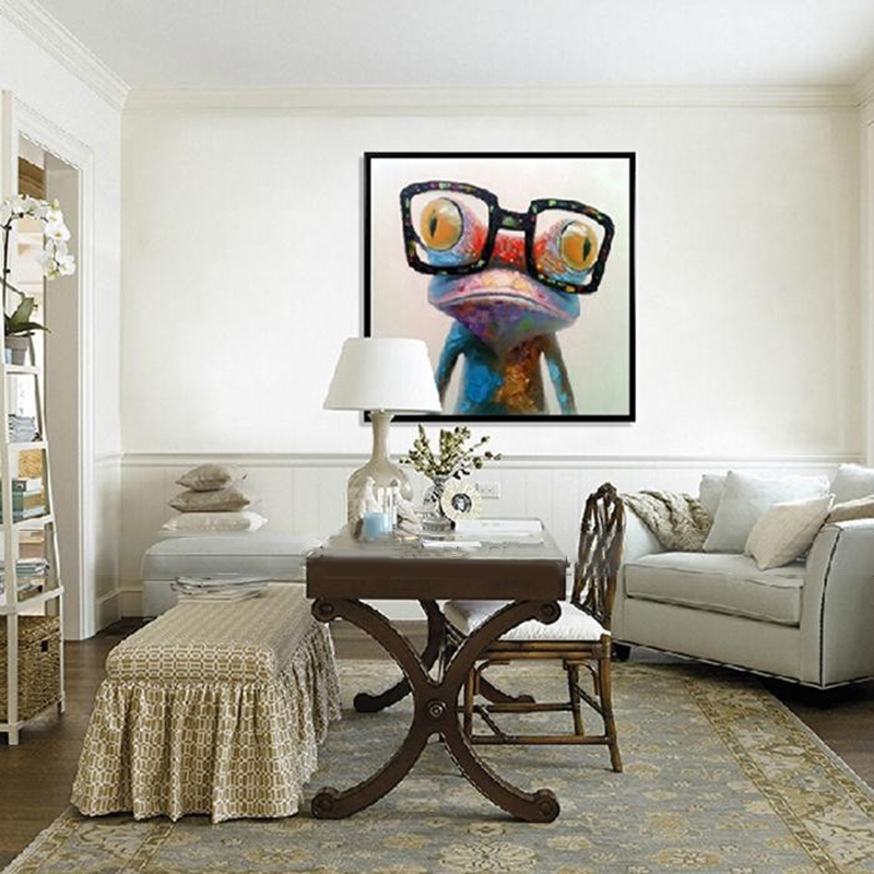 Hand Painted Oil Paintings Animal Modern Art Happy Frog With Glasses On Canvas Wall Art For Home Decoration