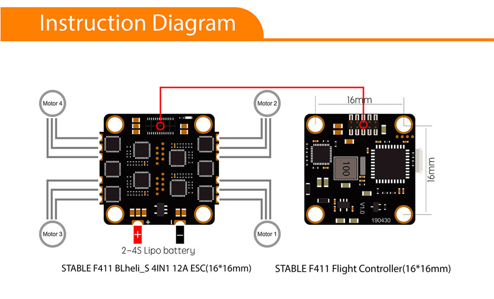 16x16mm Geprc Stable F411 Stack Part F4 Flight Controller AIO OSD BEC for RC Drone FPV Racing - Photo: 3