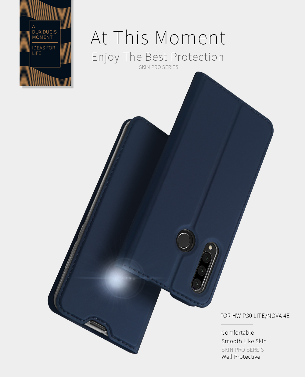 DUX DUCIS Flip Magnetic Shockproof with Card Slot PU Leather Protective Case for Huawei P30 Lite / Huawei Nova 4e