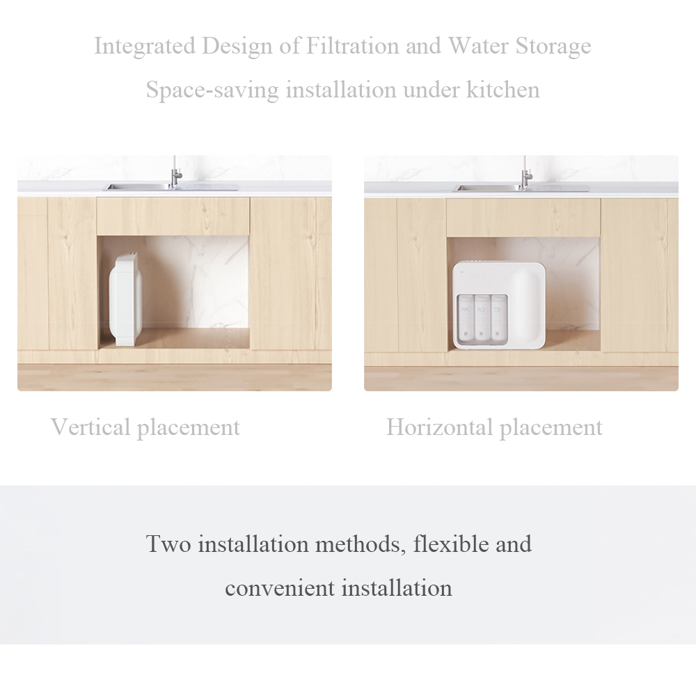 Xiaomi Updated Smart Mi Water Purifier RO Reverse Osmosis Home Kitchen Water Filtration System App Control Water Quality Monitoring Health Water Filter