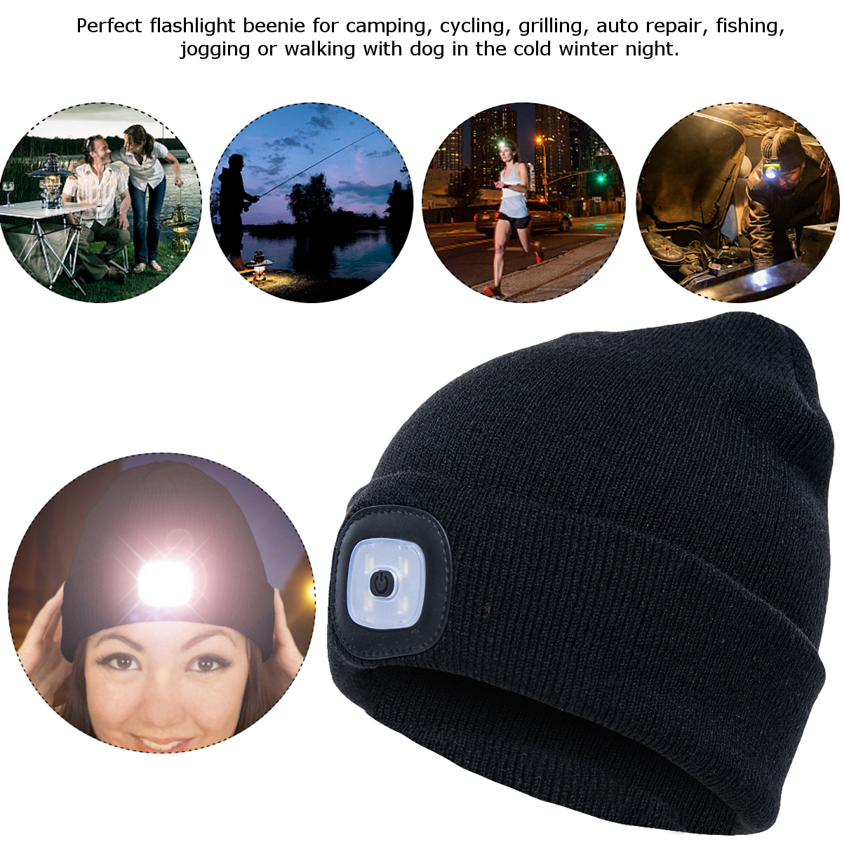 4LED 3Modes Light Cap Unisex Knit Beanie Hat Headlight For Outdoor Sports Camping Fishing