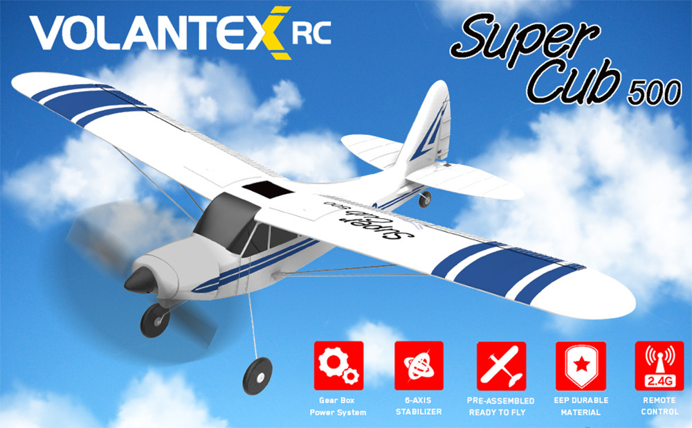 VolanteX Super Cub 500 761-3 500mm Wingspan Beginner Self-stabilizing Stunt RC Airplane Fixed Wing with 6-Axis Gyro System RTF