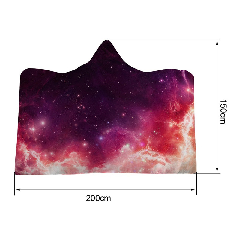 150x200 cm Winter Galaxy Scene Pattern Plush Wearable Hooded Blankets Throw Printing Hooded Bed Throw Blanket