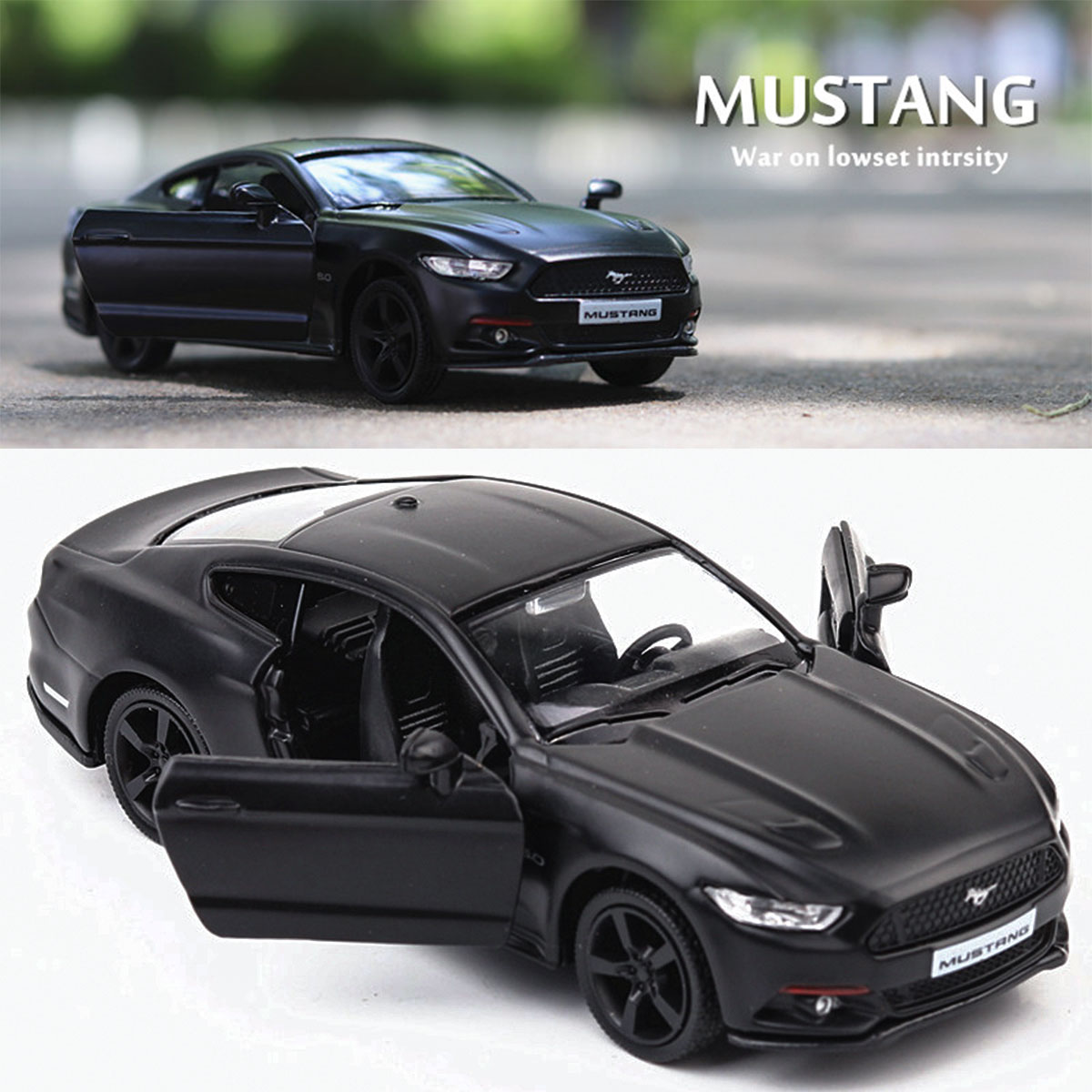 1:36 Alloy Matte Ford Mustang Pull Back Retro Diecast Model Car Toy - Photo: 6